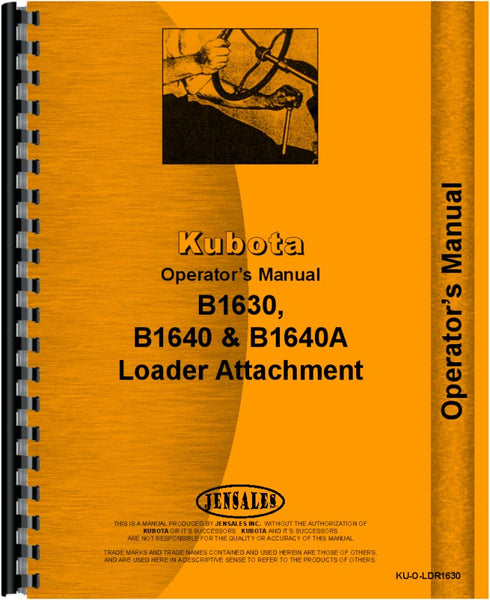 Operators Manual for Kubota B1630 Loader Attachment for B5200E Tractor