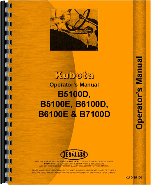 Operators Manual for Kubota B5100D Tractor