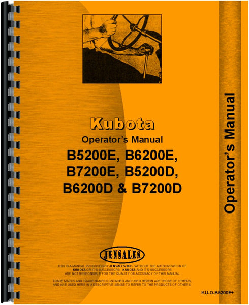 Operators Manual for Kubota B5200E Tractor