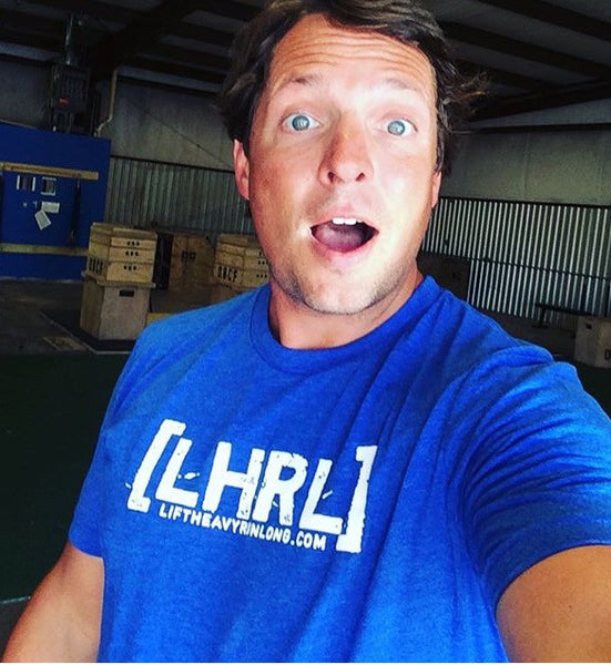 "Blue LHRL Tee w ""Lift Heavy Run Long"" FRONT & BACK PRINT - Lift Heavy Run Long - 1"