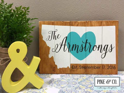 Montana Personalized Sign with Heart