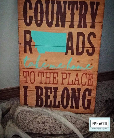 Personalized Country Roads w/State