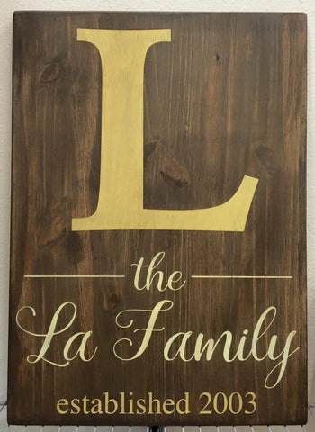 Big Monogram Family Personalized Sign