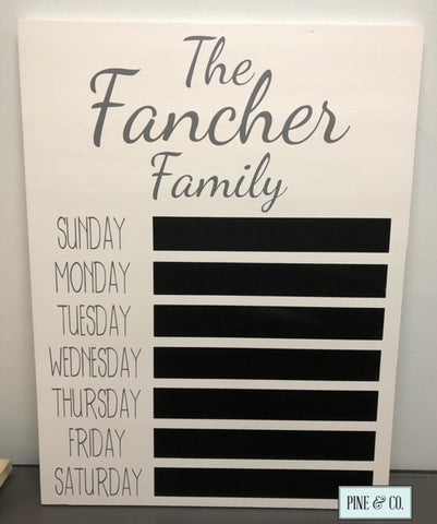 Personalized Menu/Organization Board