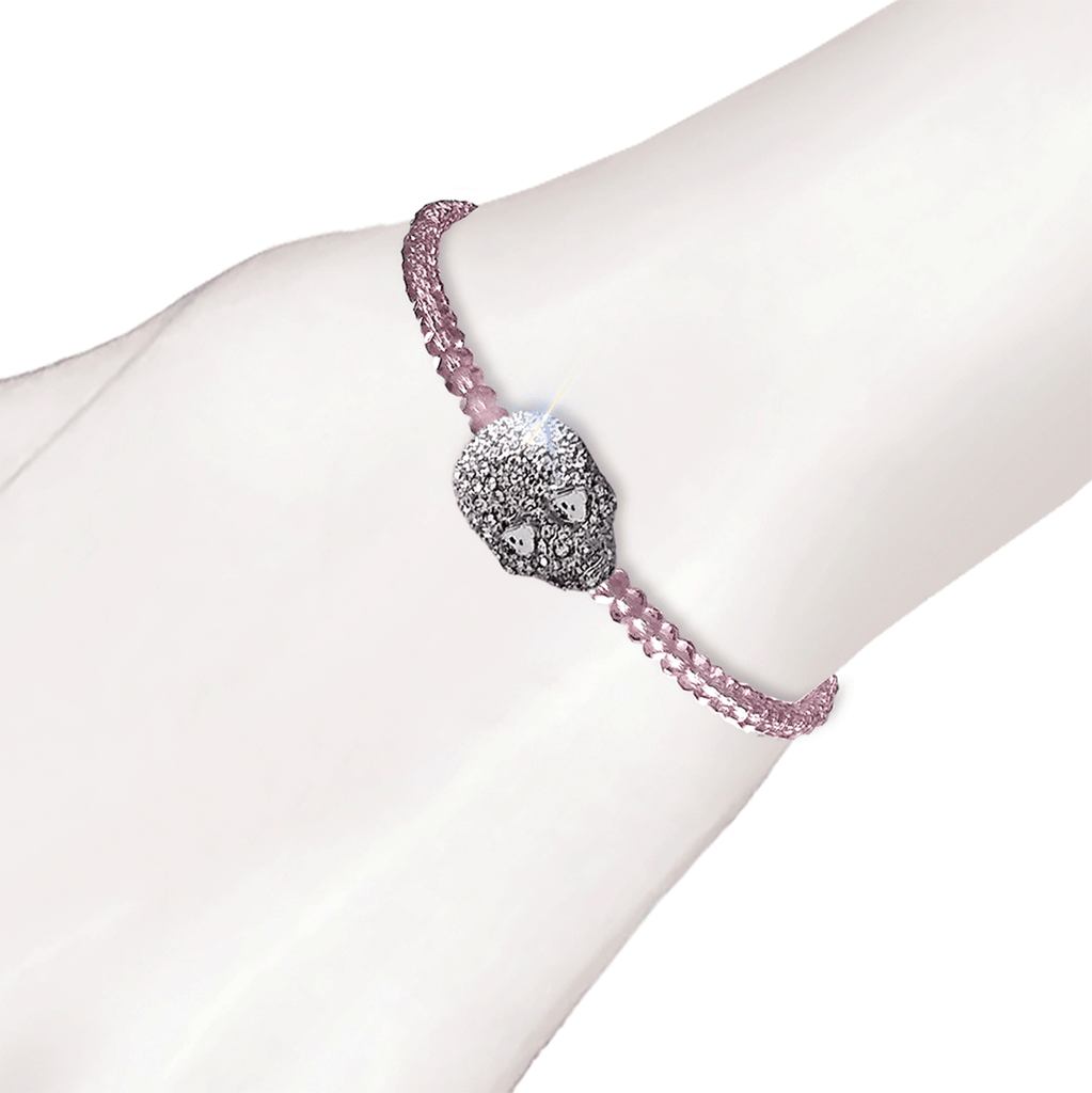 Crystal Skull Beaded Bracelet - Lilac