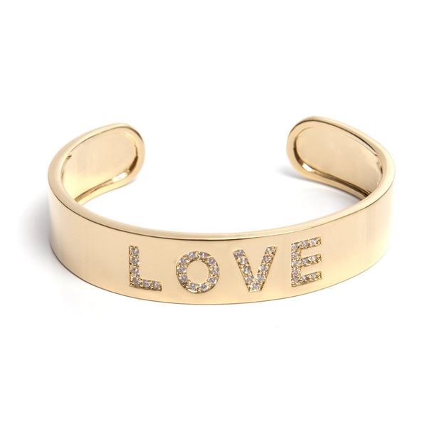 Gold LOVE Cuff Bracelet with Crystals