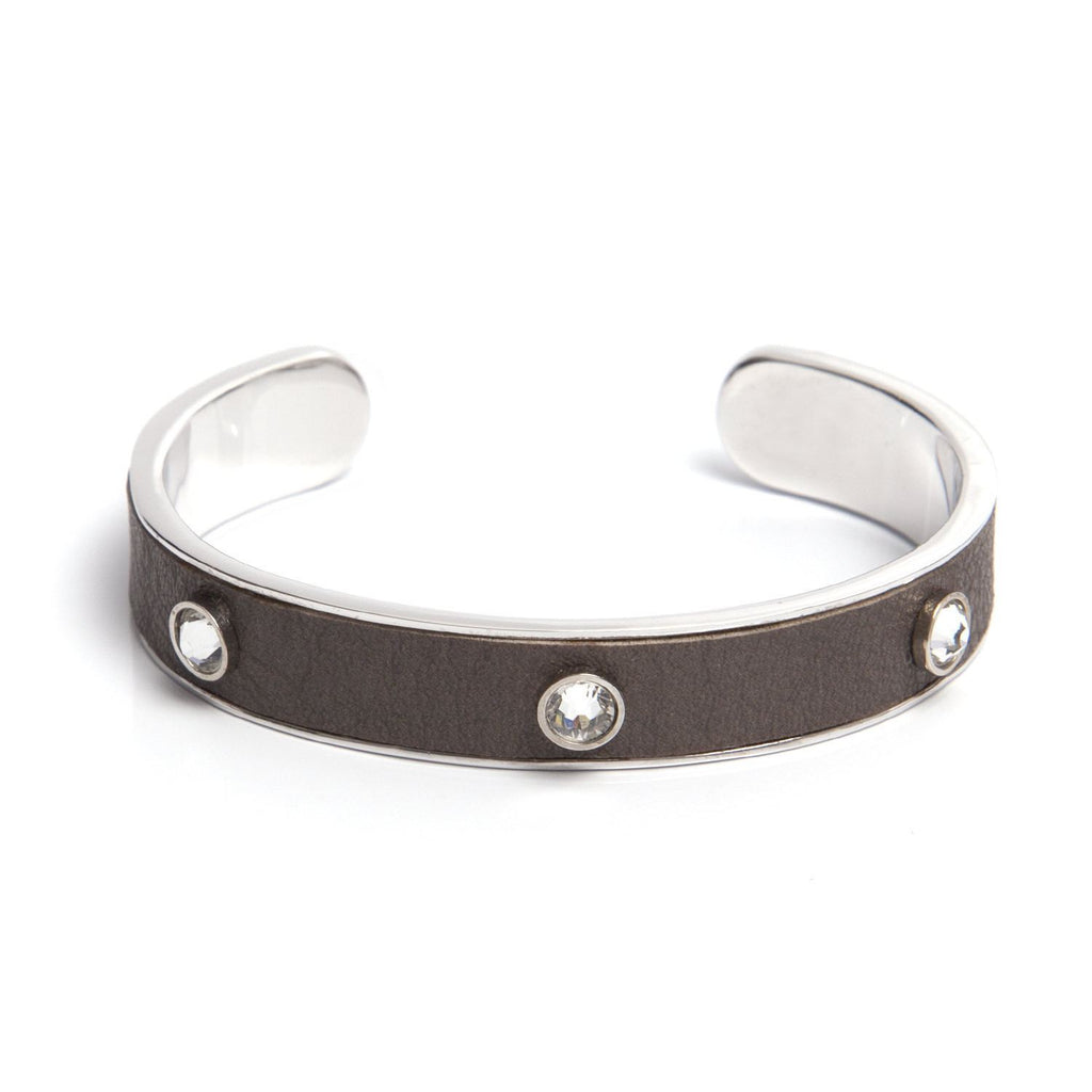Leather Crystal Cuff - Taupe