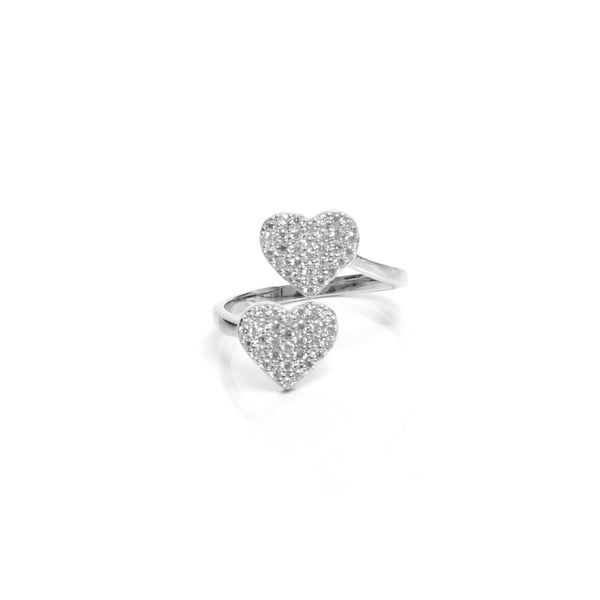 Double Heart Ring in Silver from me.n.u