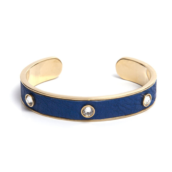 Leather Crystal Cuff - Royal