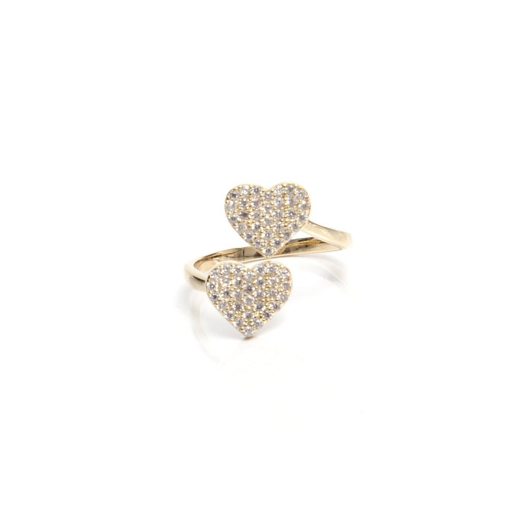 Double Heart Ring in Gold by me.n.u