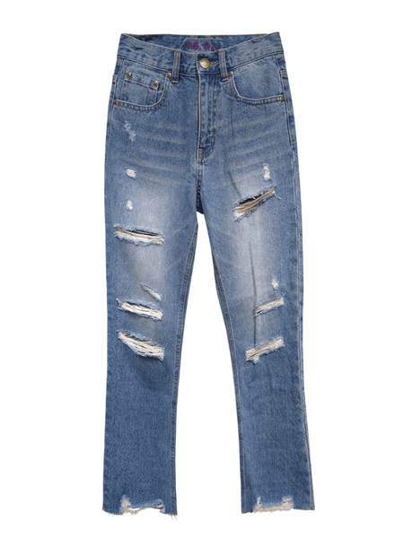 High Rise Distressed Jean