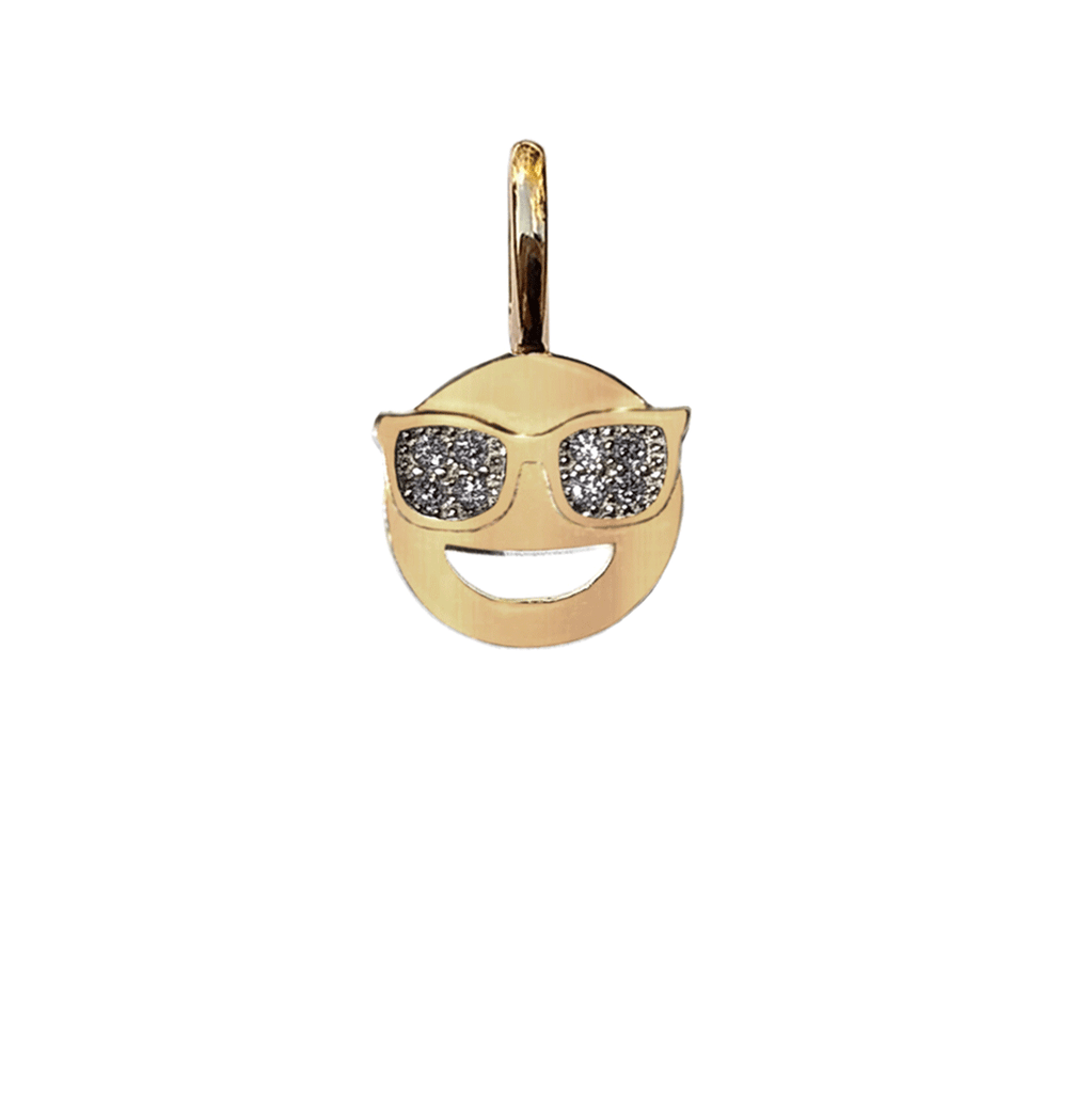 Gold Charm - Sunglass Smiley