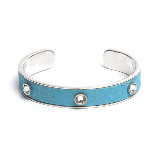 Leather Crystal Cuff - Turquoise