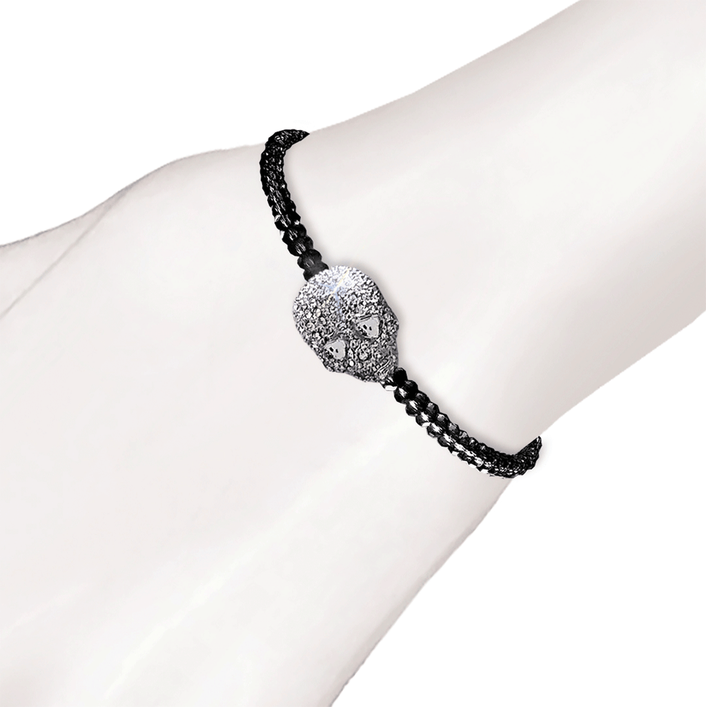 Crystal Skull Beaded Bracelet - Black