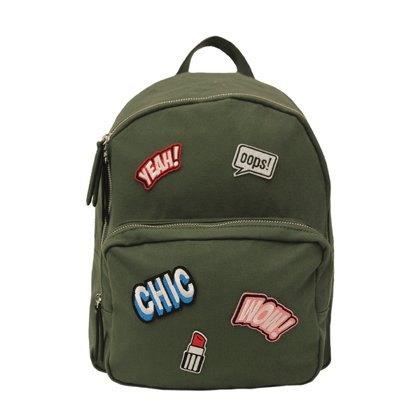 Olive Canvas School Backpack with patch appliqué