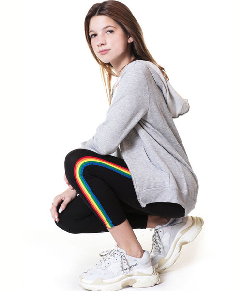 Rainbow Stripe Legging - Black
