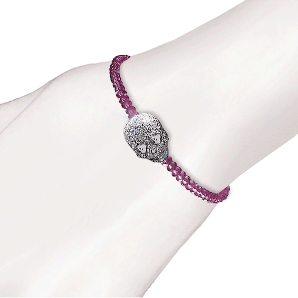 Crystal Skull Beaded Bracelet - Purple
