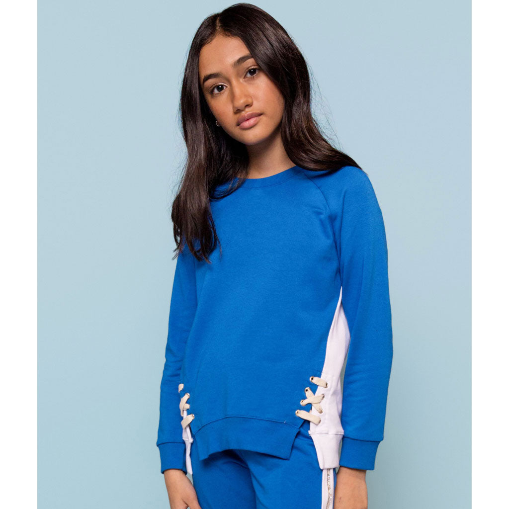 Lace Up  Sweatshirt - Royal