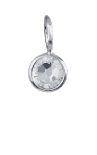 April Birthstone Silver Charm