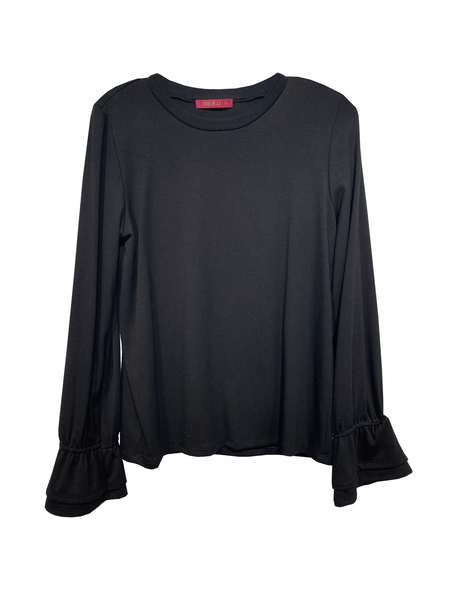 Ruffle Cuff Top -Black