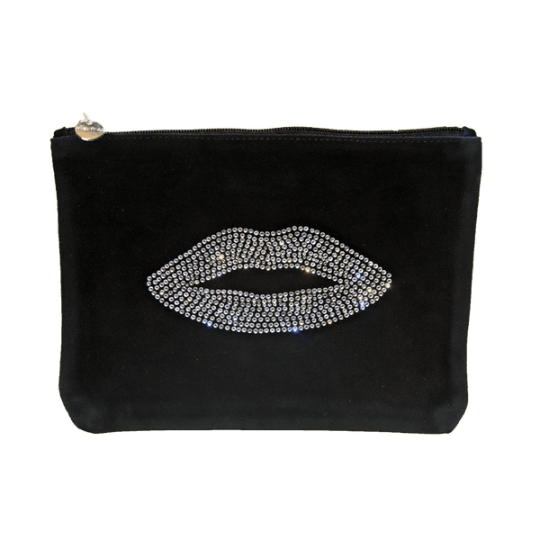 100% genuine suede clutch with crystal lip design