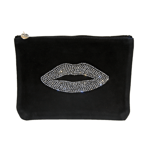 Black Suede Lip Clutch