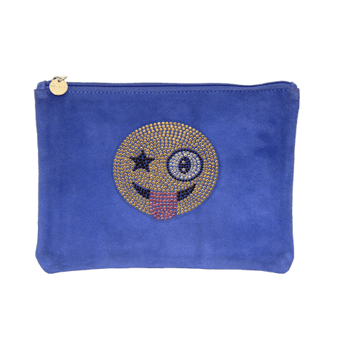 Blue Suede Clutch With Crystal Emoji