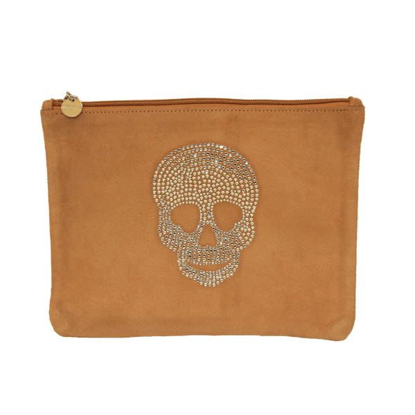 Saddle Suede Crystal Skull Clutch From me.n.u