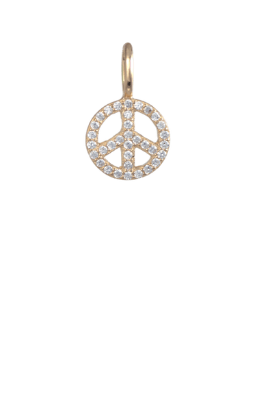 Crystal Gold Charm - Peace Sign