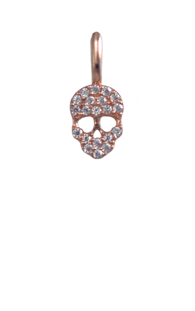 Crystal Rose Gold Charm - Skull