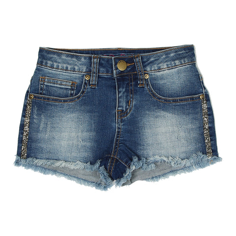 Rock Crystal Tuxedo Denim Short