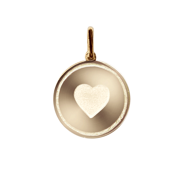 Disc Heart Charm - Gold