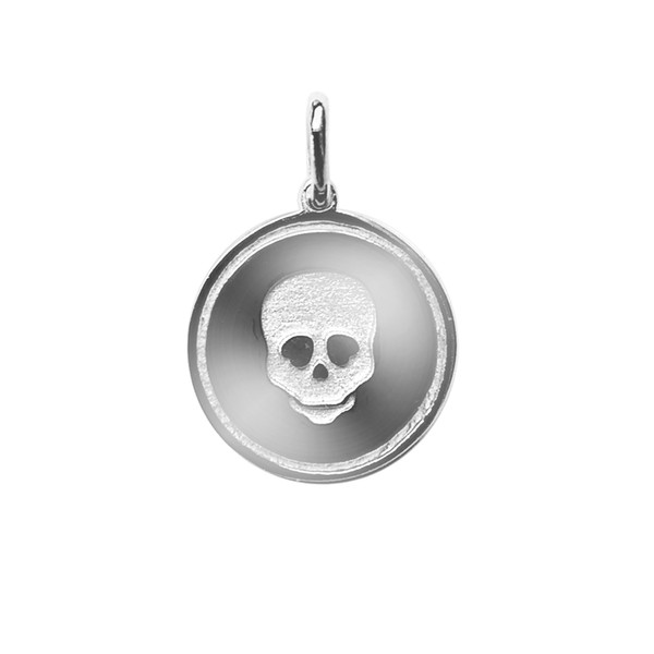 Disc Skull Charm - Silver
