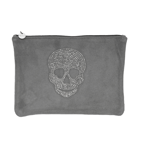 Grey Suede Skull Clutch