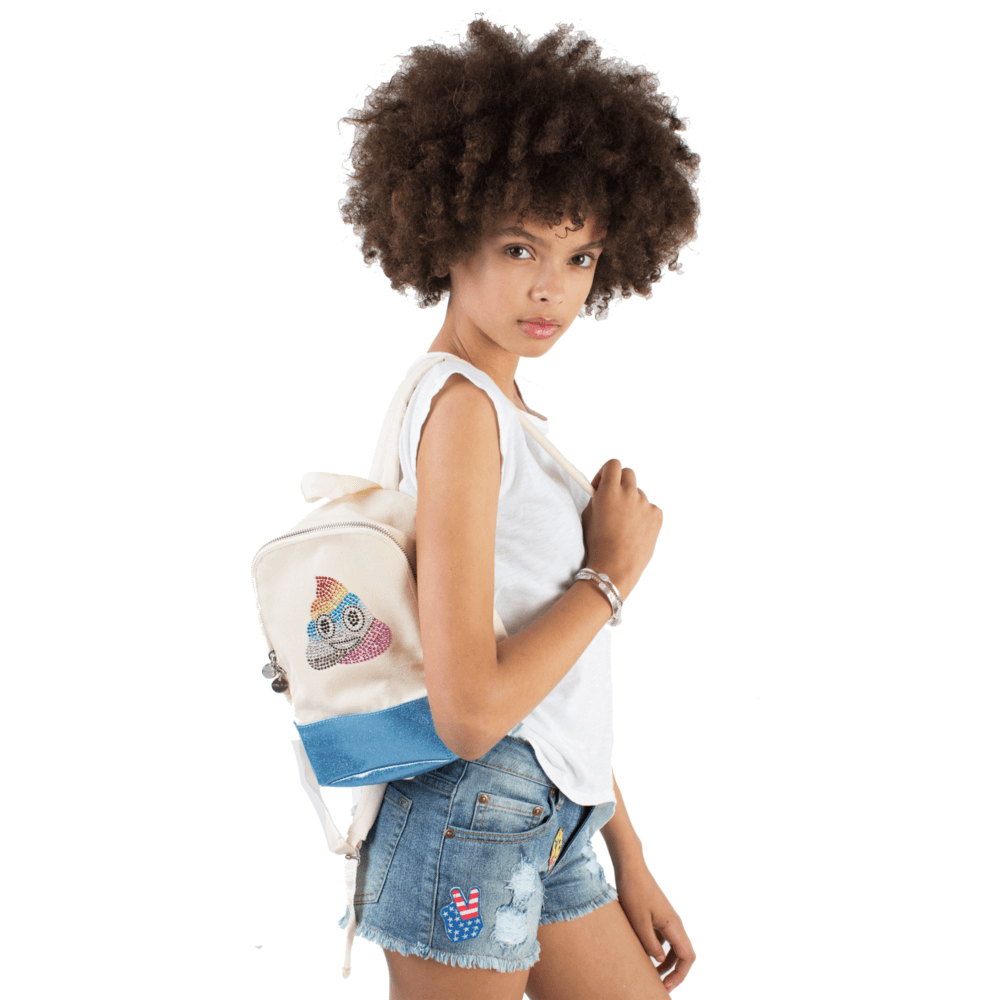 Canvas Tween Backpack with Rainbow Poop Crystal Emoji