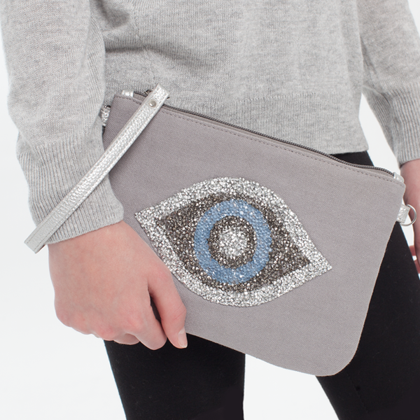 Canvas Cystal Evil Eye Clutch