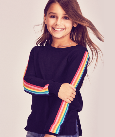 Rainbow Stripe Sweater - Black