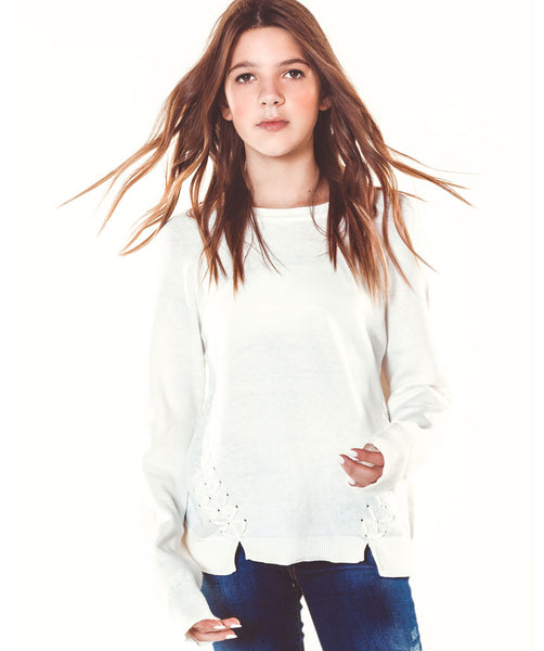 Lace Up Sweater- Ivory
