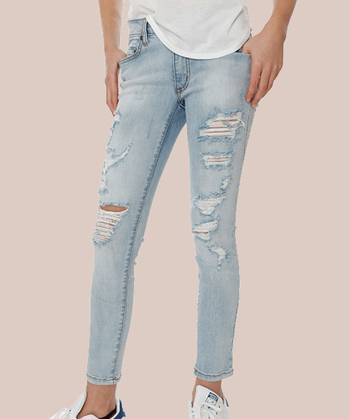 Distressed Denim Jean - Bleach Wash
