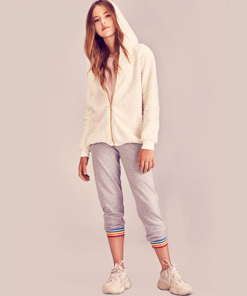 Rainbow Trim Knit Pants- Grey