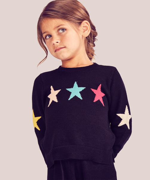 Rainbow Star Sweater - Little Girls