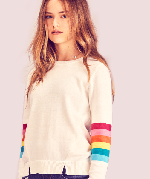 Rainbow Sleeve  Sweater - Ivory