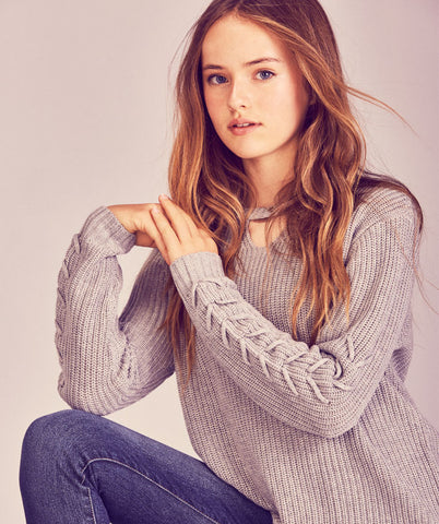 Gigi Lace Up Sweater - Grey