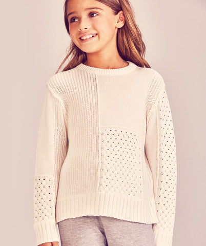 Mixed Stitch Sweater- Ivory