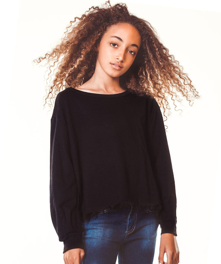Raw Hem Sweatshirt- Black