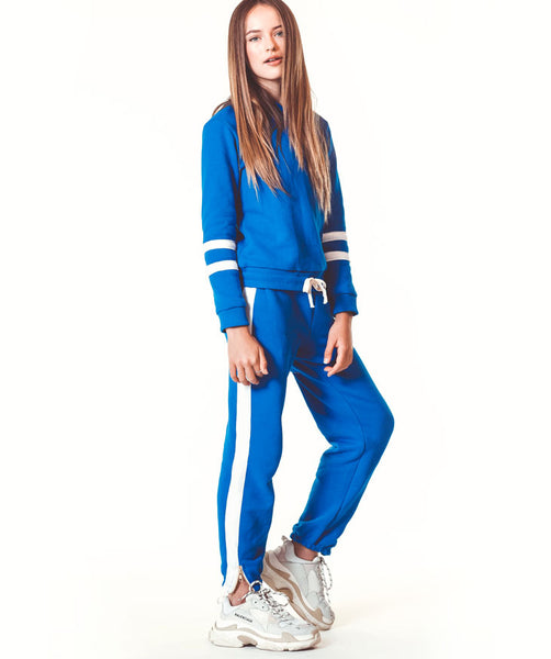 Side zip sweatpant - Blue