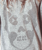 Pointelle Skull Sweater - Grey