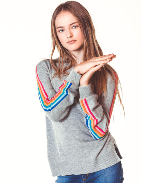 Rainbow Stripe Sweater - Grey