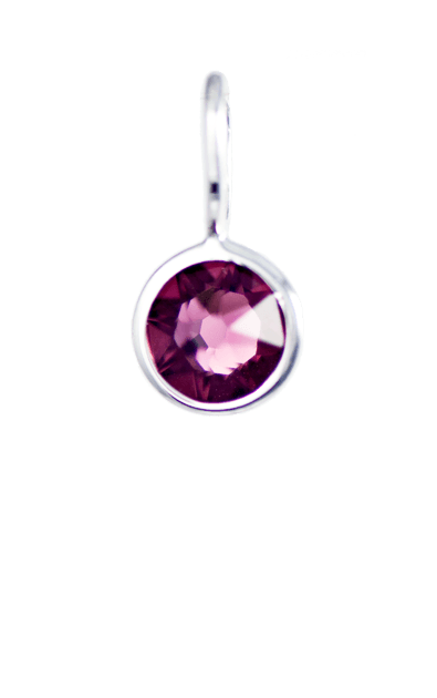 February Birthstone Silver Charm