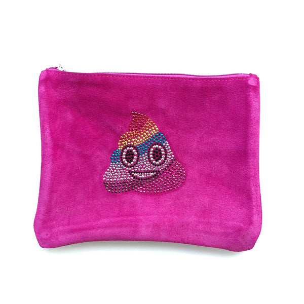 Pink Suede Emoji Clutch From me.n.u